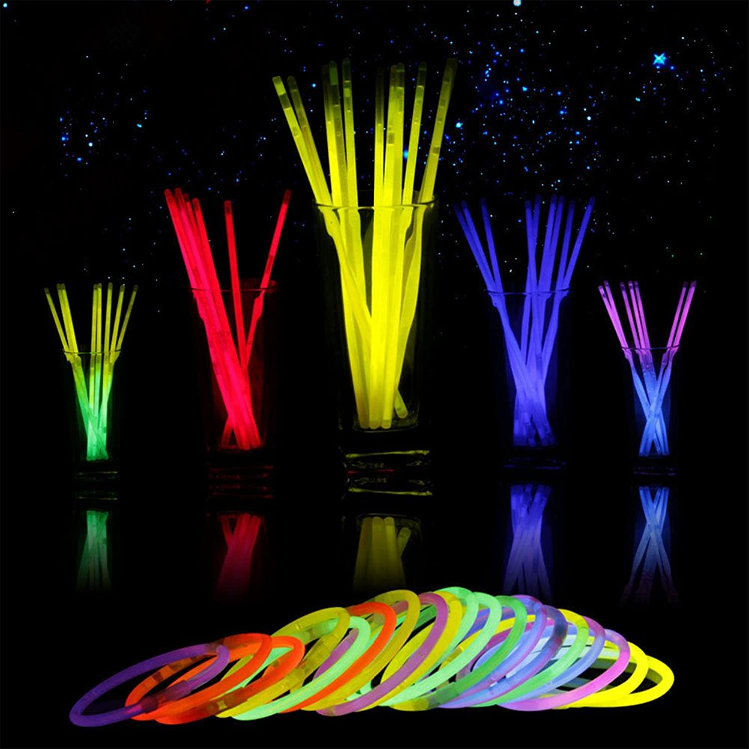 GFEU Glowsticks In Bulk 1000 Packs, Premium Light Up Toys Glow Stick Bracelets for Adult Kids Halloween XMas Party Favors Supplies, Mixed colors