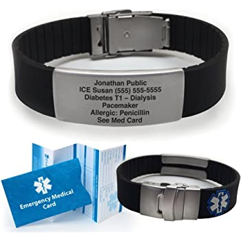 Silicone Sport Medical Alert ID Bracelet - Black (Incl. 6 Lines of Custom Engraving). Choose Your Color!