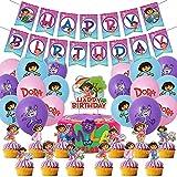 Dora Decoraciones de Cumpleaños, Hilloly 44Piezas Party Supplies Decoraciones Dora Tema Decoraciones de fiesta moradas de Cumpleaños Decoración para Tarta Feliz Cumpleaños Banner Globo de Látex