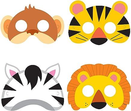 Unique Party -52161- Masques de Fête - Fête à thème des Animaux de Jungle - Paquet de 8