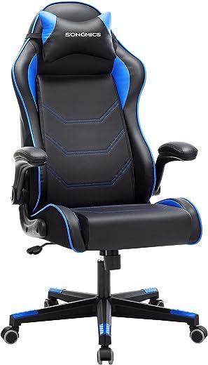 SONGMICS Gamingstuhl, Racing Chair, ergonomischer Schreibtischstuhl, Bürostuhl mit Kopfstütze und verstellbaren Armlehnen, höhenverstellbar,…