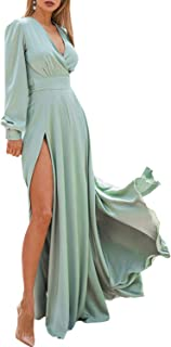 D Jill Women's Elegant V Neck Long Sleeve Satin Flowy Party Maxi Dress Tie Waist