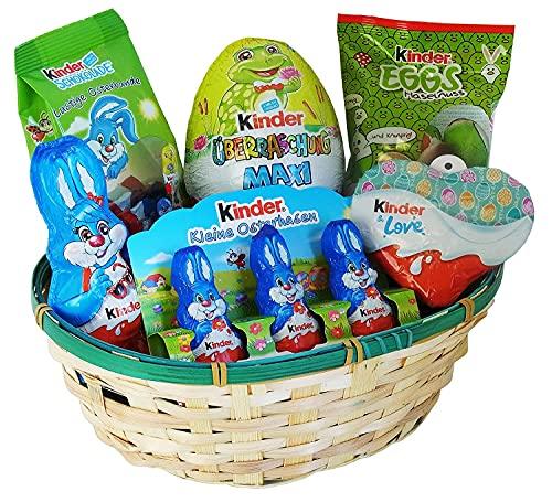 Cesta de Pascua con Kinder Chocolate y Kinder Sorpresa (6 piezas)