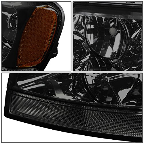 Pair of Smoked Housing Amber Corner Headlights Assembly Lamps Replacement for Jeep Grand Cherokee WJ 99-04