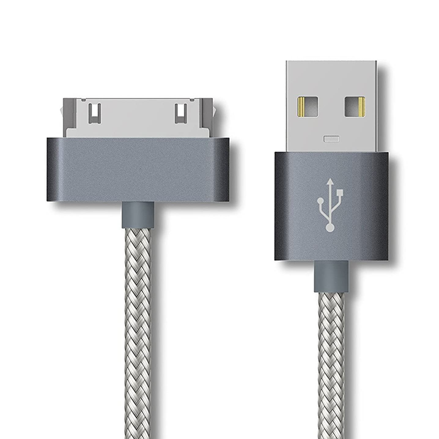 Enligten 2-Pack 3FT 6FT EXTRA LONG 30 Pin to USB SYNC and Charge Cable Cord for Apple iPhone 4/4s, iPod 1-6 Gen, iPod 1-4 Gen, iPad 1-3 Gen (Gray)