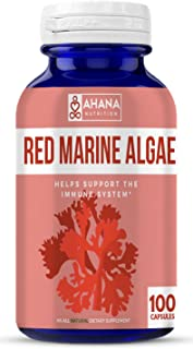 Ahana Nutrition Red Algae Capsules – Natural Antioxidant Supplement for Aiding Blood Circulation and Immune System Support (450mg – 100ct)
