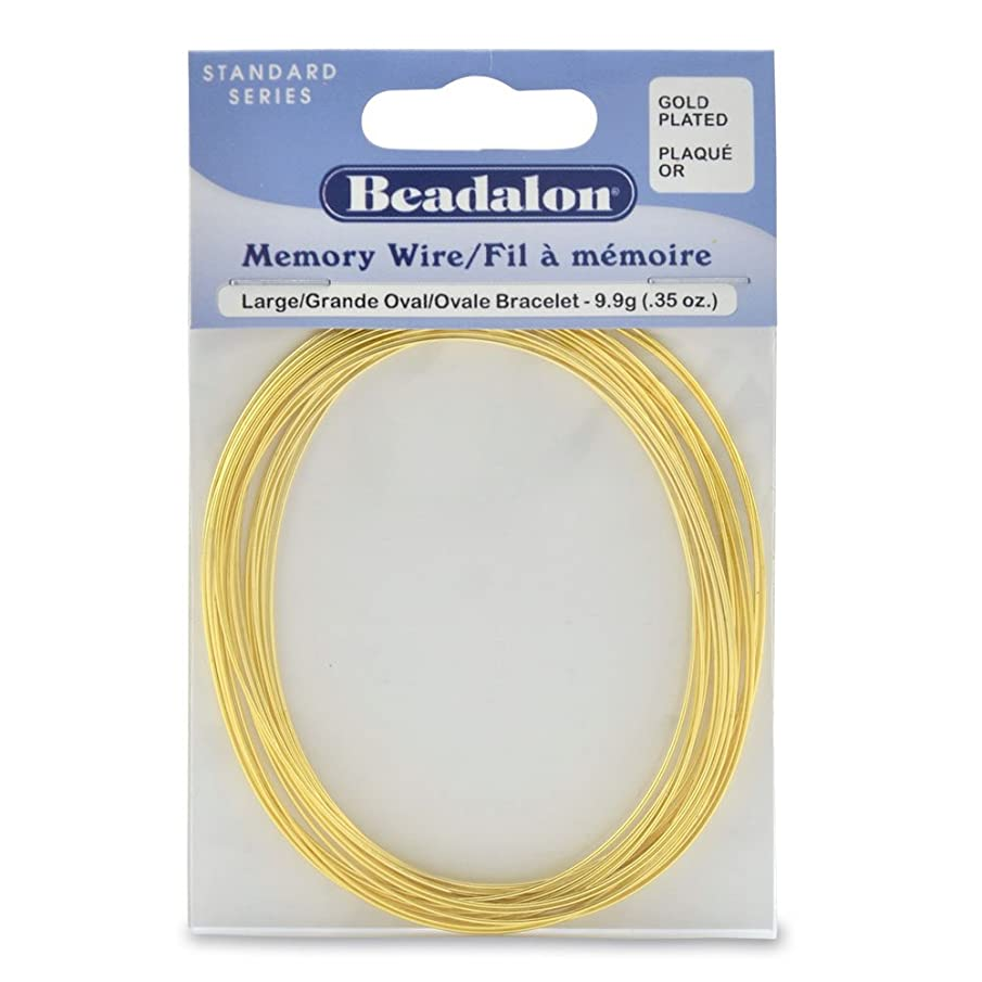 Beadalon Memory Wire Oval Bracelet Large Gold Plated, 0.35-Ounce