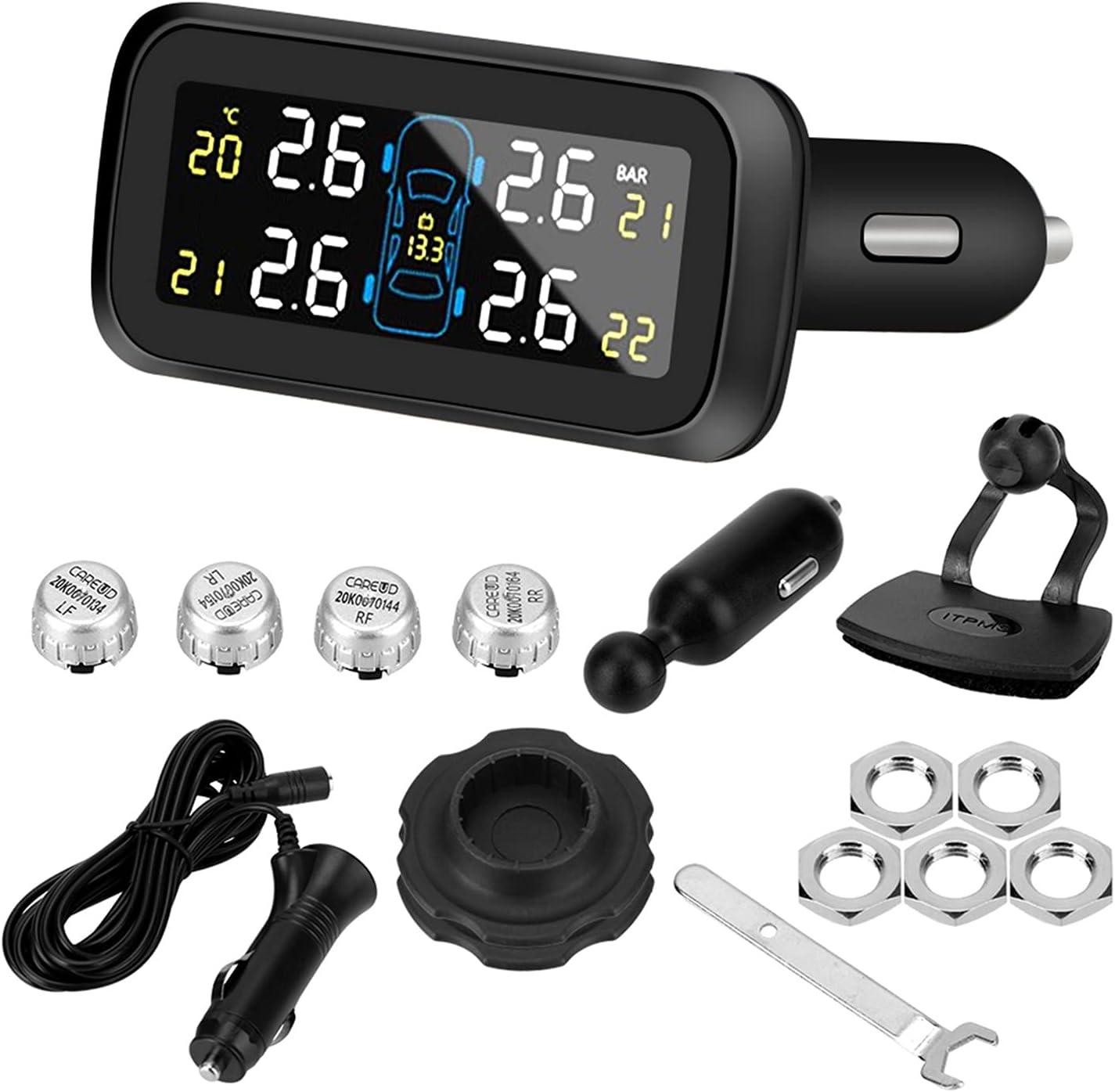para remolques de Viaje Sistema de monitoreo de presión de neumáticos Inteligente Tipo de Encendedor de Cigarrillos TPMS Digital inalámbrico LCD Mostrar Sistemas de Alarma automática TPMS