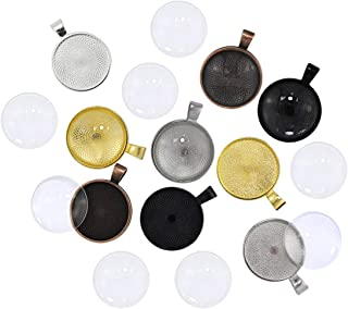 DLOnline Pack of 80 Pendant Tray Set, 40 Pieces 4 Colors Pendant Trays with 40 Pieces Transparent Glass Cabochons, for Crafting DIY Jewelry Gift Making, Non-calibrated Round 1 inch/25mm