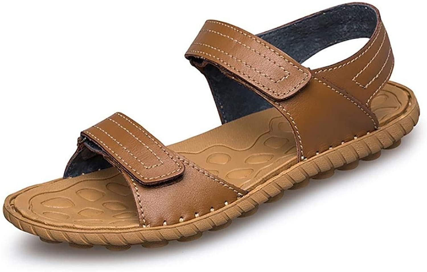 Oudan Men's Summer Flip Flops Casual Leather Sandals (color   Brown, Size   42)