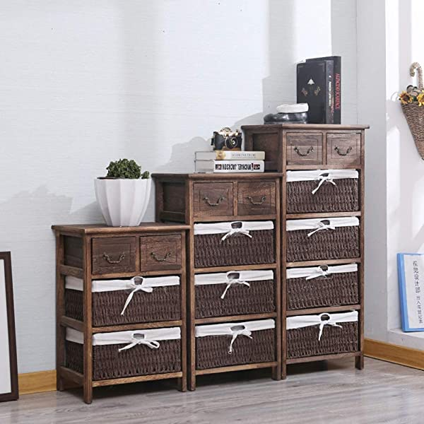 Carriemeow Simple Retro Multi Layer Woven Basket Linen Drawers Living Room Bedroom Storage Cabinet Color 2 Size Three Drawer403058cm