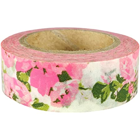 Gold Foil Flower and Rabbit Washi Tape in Mexican Tenango Pattern  Red and Pink Floral Masking Tape  Japanese Stationery