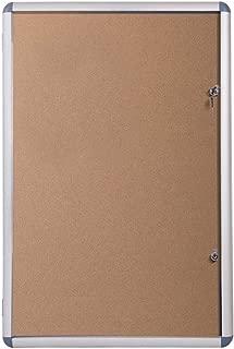 VIZ-PRO Tamperproof Lockable Cork Noticeboard Class 1 Aluminium Framed 48x36 Inches