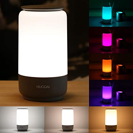 LED Table Lamp, HUGOAI Bedside Lamp, Nightstand Lamps for Bedrooms with Dimmable Whites, Vibrant RGB Colors and Memory Function, No Flicker, Grey