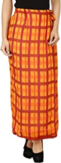 Eves Pret A Porter Women's Wrap Around Skirt in Polyester Georgette in Orange & Red Checkered Pattern