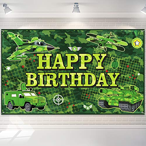 Camouflage Happy Birthday Backdrop Camo Photography Background Banner Hero Army Solider Camo Birthday Party Decorations for Teens and Adults for Army Military Hunting Themed Party Supplies