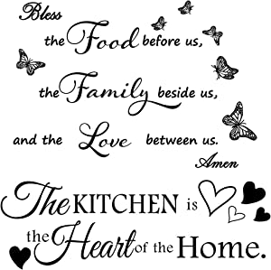 2 Pieces Wall Decals Kitchen Vinyl Wall Stickers Murals Wall Quotes Art Decal Meal Prayer Wall Décor Prayer Stickers Bless The Food Before Us Quote Decal Stickers for Living Room Dining Room.