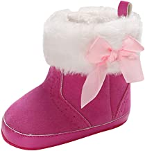 Goldweather Baby Girl Soft Booties Pure Color Bow High Gang Snow Boots Toddler First Walkers Warm Shoes