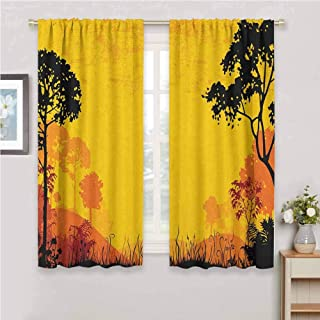Jinguizi Woodland Window Curtains Woodland at Sunset Silhouette of Hills Forest Trees Grass Landscape Nature Art Curtains Yellow Black 72 x 45 inch