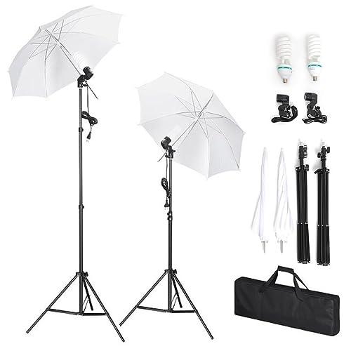 Amzdeal Kit de Studio Photo Pliable Universel - Kit d'Éclairage pour Studio Photo (2x135W Ampoules + 2 x Trépieds + 2 x Parapluies Translucides + 2 x Douilles + 1 Sac de Transport)
