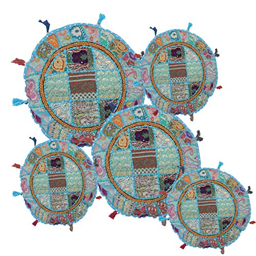 iinfinize - Juego de 5 fundas de cojín con bordado indio, estilo vintage, de algodón, 45,72 cm, redondas, para sofá, silla, almohadón otomano Khambadita, funda para puf de meditación.