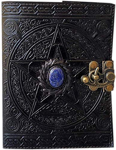 Wiccan leather journal black pentagram embossed blank spell book of shadows pentacle witchcraft handmade third eye stone leather journal with clasp lock grimoire pagan celtic unlined notebook 7x5 inch
