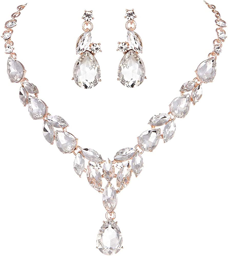 Molie Youfir Bridal Teardrop Statement Necklace Dangle and Earrings Set for Brides Wedding