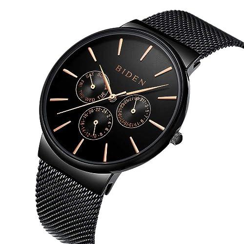 Reloj,Relojes Hombres,Acero Inoxidable Classic Luxury Business Casual Relojes Multifunciones a Prueba de