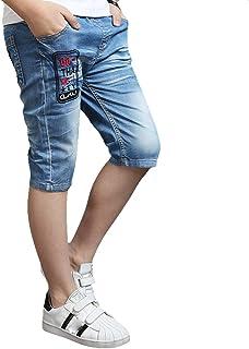 デニムパンツ ハーフパンツ キッズ 子供 ショートパンツ 男の子 五分丈 色落ち加工 ファッション ジーンズ パンツ 短パン 半ズボン 子供用 かっこいいウェストゴム 通学 通園 カジュアル 110-160cm