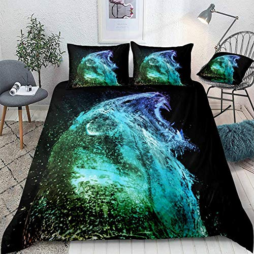 ZHOUBIN Duvet Cover Sets 3d green lion Bedding Set Print Comfortable Soft Bedding Set with Zipper-UK Double 200x200CM