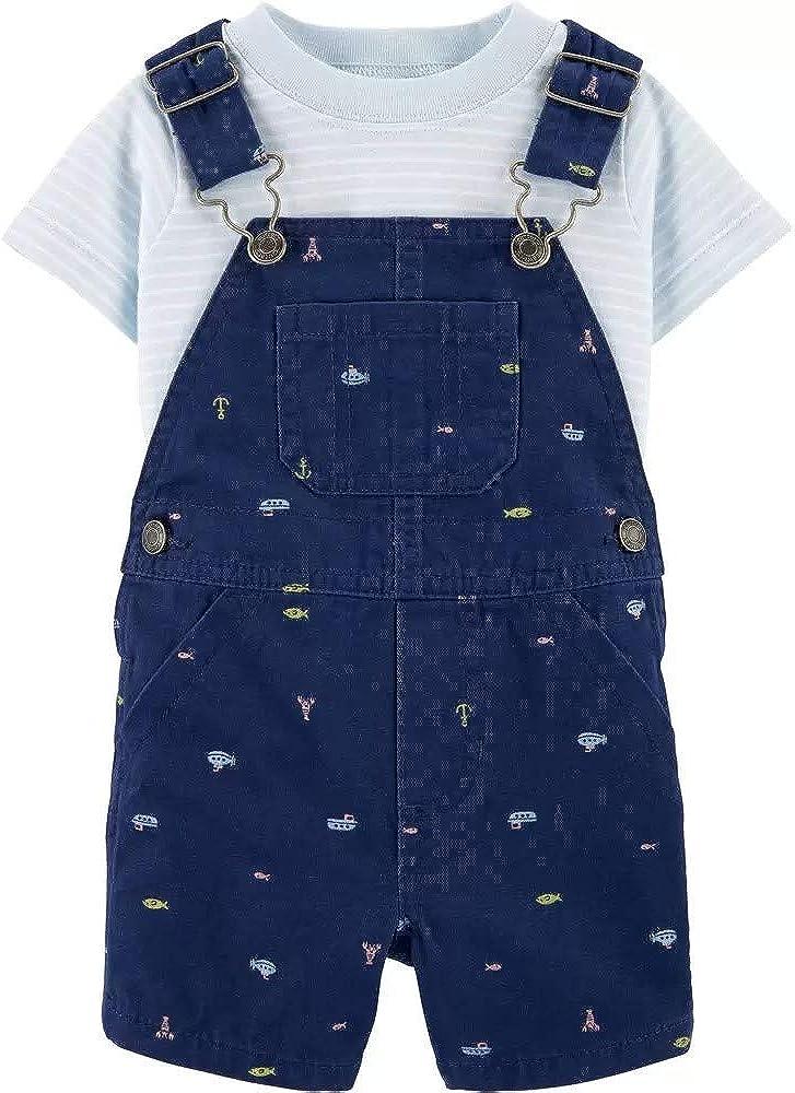 Carter's Baby Boys' 2-Piece Tee & Shortall Set, Nautical, 6 Months