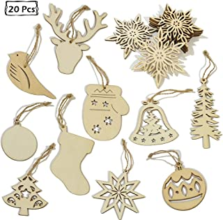 JAYKIDS Christmas Ornaments Wooden Decorations 20pcs Christmas Tree Hanging Tags Pendant Holiday Embellishments Crafts Decor Gifts for Xmas