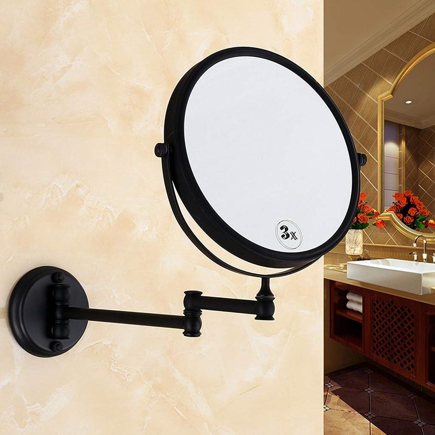 動力学横に親愛なIUYWL浴室用ミラー 化粧鏡拡大鏡バニティ化粧鏡360°折りたたみ両面ミラーブラック IUYWL浴室用ミラー