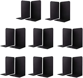 Jekkis 16 Pieces Book Ends, Metal Heavy Duty Bookends for Shelves, L Shaped Black Non-Skid Book Stopper for Magazines DVD...