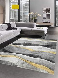 CARPETIA Tapijt modern tapijt woonkamer golven grijs geel goud afmeting 120x170 cm