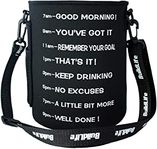 QuiFit Water Bottle Sleeve with Time Marker,Shoulder Strap,Multiple Ways of Use,Suitable for Gallon or 73/83 oz Water Bottle,2 Sizes