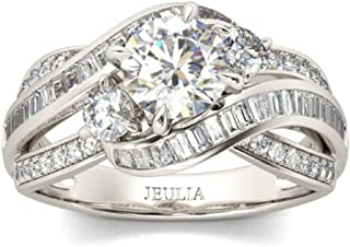 Jeulia Three Stone Round Cut Sterling Silver Ring Intertwined Engagement Rings for Women Cubic Zirconia Diamond Crossover Statement Ring Set Anniversary Promise Bridal Set with Gift Box