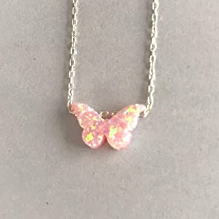 Tiny Pink Opal Butterfly Charm Necklace with 40cm-43cm (15.7'' -16.9''inches) Sterling Silver Adjustable Chain by Handmade Studio