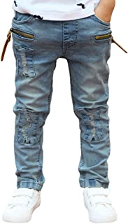 Boy Jeans, Spring Summer Boy's Skinny Fit Zipper Stretch Ripped Destroyed Distressed Stretch Patched Slim Jeans Pants