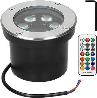 ECD Germany 6 pack LED Spot encastré au sol 5W - RGB avec télécommande - 230V - rond - acier inoxydable - IP67 - terrasse ...
