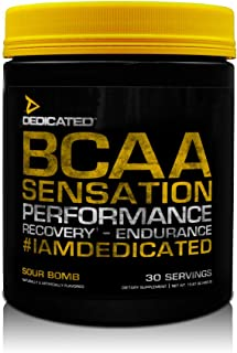 DEDICATED Nutrition BCAA Sensation - Essential Amino Acid, Leucine, Isoleucine, Valine, Taurine, Citrulline | Rhodiola Rosea, Grape Seed Extract | Muscle Growth & Recovery, 30 Serving (Sour Bomb)