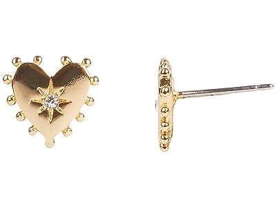 Rebecca Minkoff Studded Heart Stud Earrings (Gold/Dark Blue) Earring