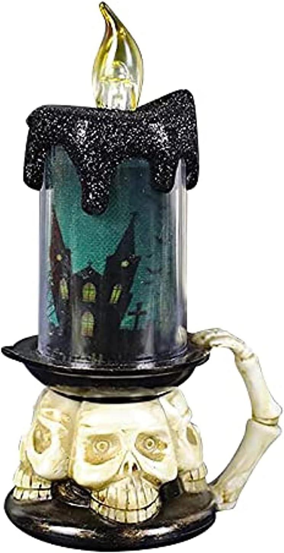 POIUYH Lámpara encendida con Vela de Globo de Nieve de Halloween, candelabro sin Llama de Halloween, Vela de Agua Ligera, decoración de Halloween, luz de Vela (C)