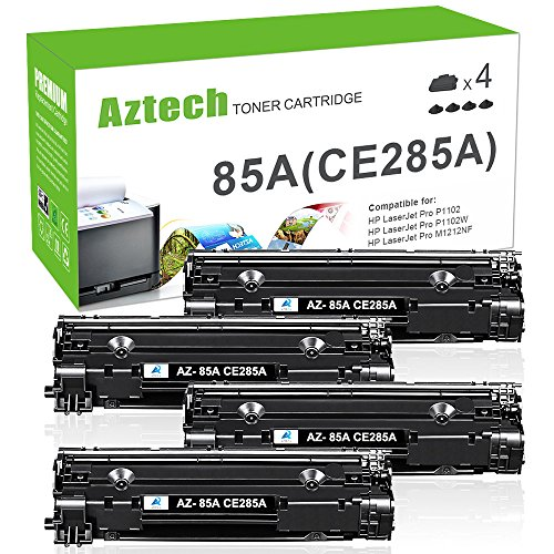 AZTECH Compatible Toner Cartridge Replaces for CE285A 85A CE285 P1102W P1100 M1210 (Black,4-Pack)
