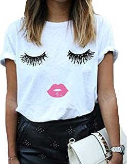 BLACKMYTH Women Summer Funny Print Short Sleeve Top Tee Graphic Cute T-Shirt