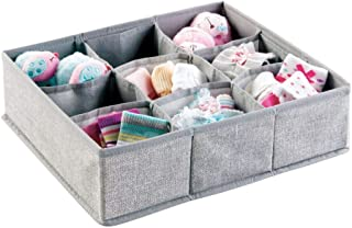 mDesign Soft Fabric 9 Section Dresser Drawer and Closet Storage Organizer for Child/Kids Room, Nursery, Playroom - Divided Large Organizer Bin - Textured Print with Solid Trim - Gray