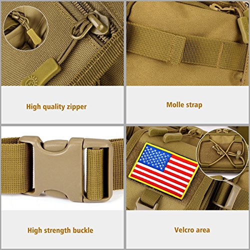 Aeoss Tactical Waist Pack Pouch with Water Bottle Pocket Holder Molle Fanny Hip Belt Bag (Wolf Brown) (Brown)