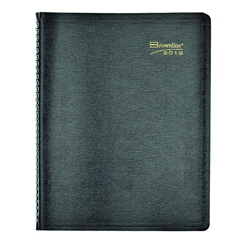 Brownline Weekly Appointment Book, Twin-Wire with Soft Black Cover, English, 11 x 8-1/2 (CB950.BLK 2019)