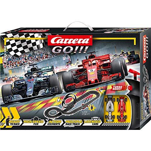 Carrera Toys GO!!! Speed Grip Set Pista da Corsa e Due Macchinine, Una Ferrari e Una Mercedes, Gioco Adatto per Bambini dai 6 Anni, Multicolore, 20062482