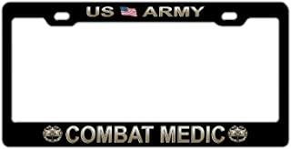 Black Aluminum Metal License Plate Frame, US Army Car Tag Frame, Military Proud License Plate Cover Holder for US Standard, 2 Holes and Screws